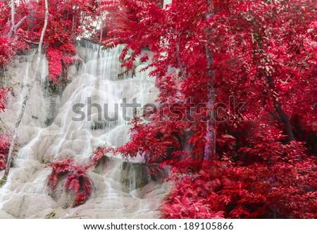 Level six of Erawan Waterfall in Kanchanaburi Province, Thailand - stock photo