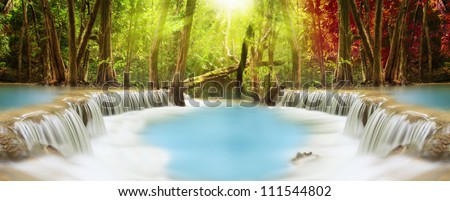 Level two of Huai Mae Kamin Waterfall in Kanchanaburi Province, Thailand - stock photo