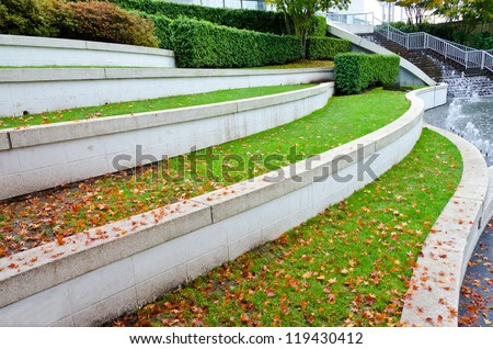 Leveled Terraces With Grass And Fountains In A City Plaza Urban Landscape Design Vancouver