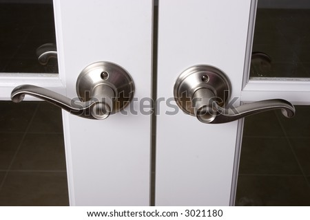 Lever Door Handles On French Doors Stock Photo Edit Now 3021180