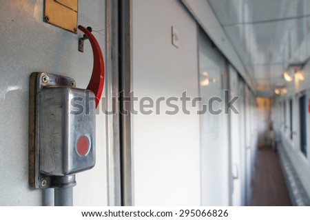 Lever of an emergency brake - stock photo