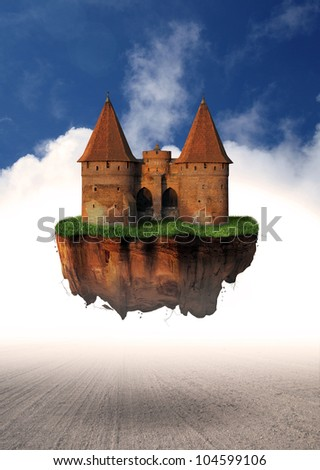 Levitating medieval castle on island in the clouds - dark fantasy story - stock photo