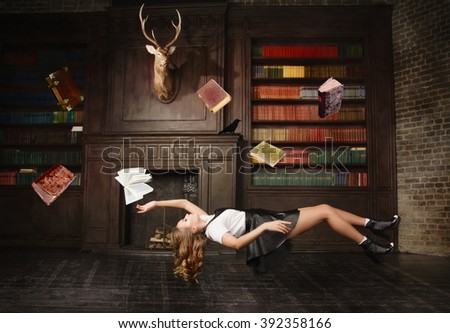 Levitating woman in the classical library room