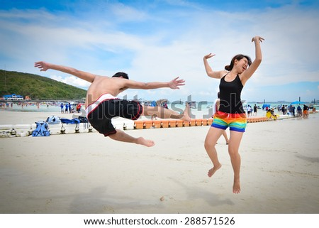 Levitation on The Beach - stock photo