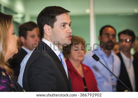 Levittown, Puerto Rico - March 5, 2016: Republican presidential candidate, Marco Rubio, addresses reporters' questions regarding Puerto Rico's debt crisis at pre-rally press conference in Puerto Rico.