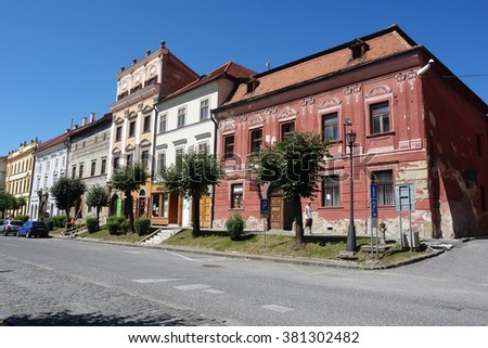 Levoca, PRESOV, SLOVAKIA - AUGUST 06, 2013: Street with old historical buildings in Levoca town, Slovakia.