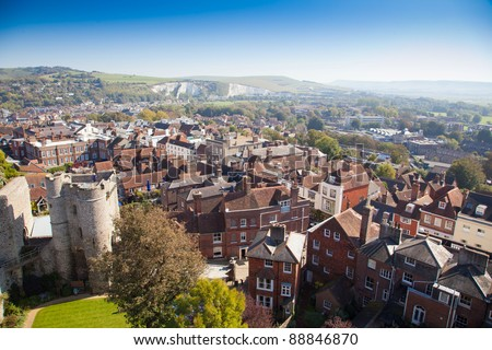Lewes east sussex  elevated view, england, house exterior  town, town scape Brighton - stock photo