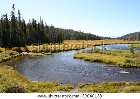 Lewis River in Yellowstone National Park winding through grass land. Woods on both sides, clear blue sky. - stock photo