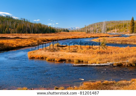 Lewis River in Yellowstone National Park, Wyoming. - stock photo