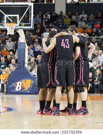 LEWISBURG, PA. - NOVEMBER 28: Penn State's Players huddle before a basketball game against Bucknell on November 28, 2014 Sojka Pavilion in Lewisburg, PA. - stock photo