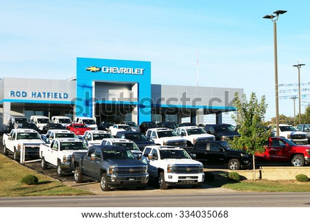 LEXINGTON, KY OCTOBER, 2015: Chevrolet Dealership With A Full Lot Of Chevy