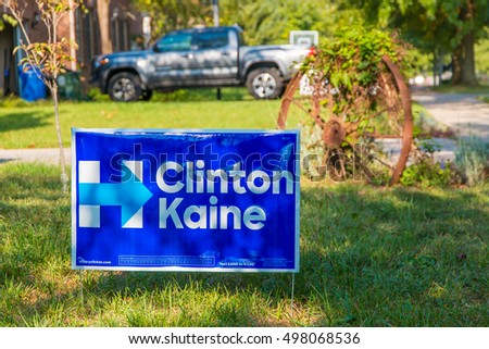 Lexington, KY, USA - October 6, 2016: Clinton Kaine yard sign at residential street for Presidential candidate Hillary Clinton 2016.