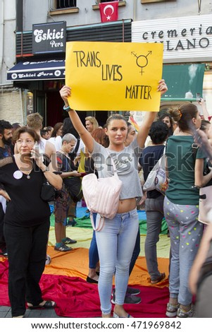 LGBT members protest against the killing of transgender, Istanbul, Turkey - August 21, 2016 : LGBT members, gathered in Taksim to protest the killing of trance.