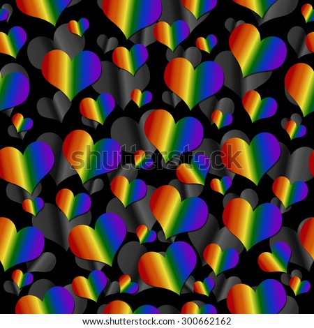 LGBT Pride Colored Hearts over Black Tile Pattern Repeat Background that is seamless and repeats - stock photo