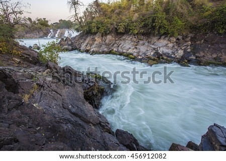 Li Phi weterfalls, Southern of Laos. Dawn