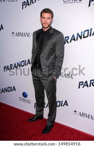 "Liam Hemsworth at the ""Paranoia"" US Premiere, Directors Guild of America, Los Angeles, CA 08-08-13 - stock photo"