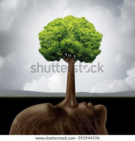 Liar concept as a corruption symbol for built on lies as a long nose protruding out shaped as a green tree providing false guidance and fraudulent advice in business or the environment.. - stock photo
