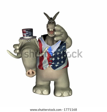 Liberal Donkey caught in a Conservative Elephant suit. Political Humor - stock photo