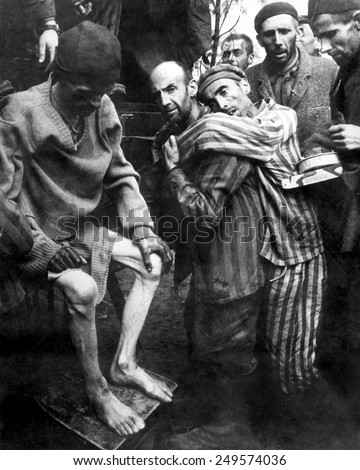 Liberated prisoners of Wobbelin Concentration Camp taken to a hospital for medical attention. May 4, 1945, Germany, World War 2. - stock photo