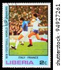 LIBERIA - CIRCA 1978: a stamp printed by LIBERIA, shows football players in world football cup in Argentina, circa 1978 - stock photo
