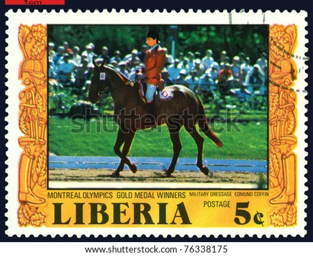 LIBERIA - CIRCA 1977: a stamp printed  by  Liberia, shows gold medal winners Edmund  Coffin. Olympic games in Montreal, circa 1977