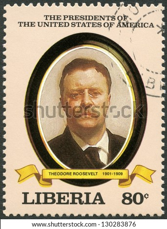 LIBERIA - CIRCA 1982: A stamp printed in Liberia shows President Theodore Roosevelt (1901-1909), series the Presidents of the USA, circa 1982 - stock photo