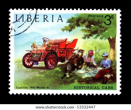 LIBERIA - CIRCA 1982: Liberia Canceled postage stamp depicting antique Cadillac Model A obsolete after new government took power. Circa 1982