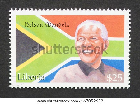 LIBERIA - CIRCA 2001: postage stamp printed in Liberia showing an image of Nobel Peace prize winner Nelson Mandela, circa 2001.   - stock photo