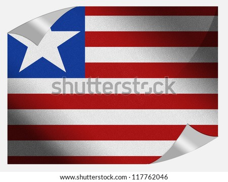 Liberia flag painted on page sheet with folded corners - stock photo