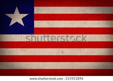 Liberia flag pattern on the fabric  texture ,retro vintage style - stock photo