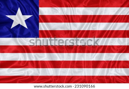 Liberia flag pattern on the fabric texture ,vintage style - stock photo
