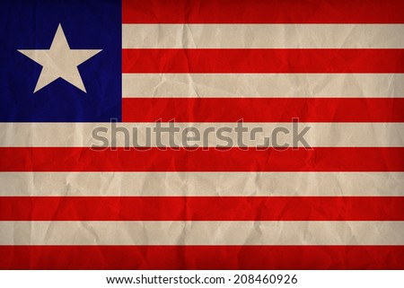 Liberia flag pattern on the paper texture ,retro vintage style - stock photo