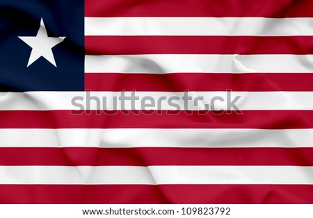 Liberia waving flag - stock photo