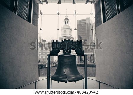 Liberty Bell and Independence Hall in Philadelphia - stock photo