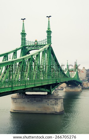 Liberty Bridge at day in Budapest - stock photo