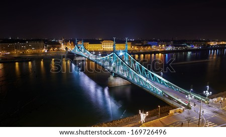 Liberty bridge in Budapest, long exposure by night - stock photo