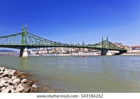 Liberty Bridge over Danube river in Budapest, Hungary