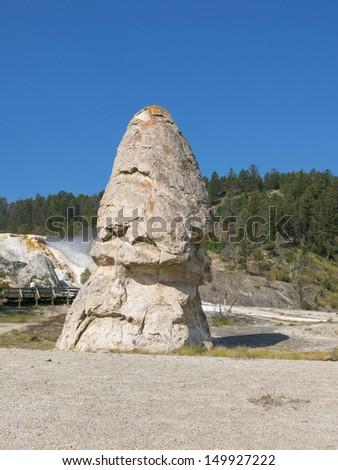 Liberty cap in Mammoth Hot Springs - stock photo