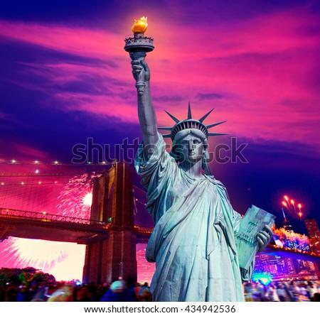 Liberty Statue and Brooklyn bridge on july 4 th fireworks New York America photomount - stock photo