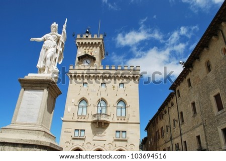Liberty statue and public palace, San Marino republic, Italy - stock photo
