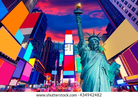 Liberty Statue and Times Square New York American Symbols USA photomount - stock photo