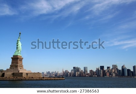 Liberty Statue on Manhattan New York - stock photo