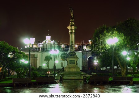Liberty Statue, Plaza de la Independencia at night. Quito. Ecuador. South America - stock photo