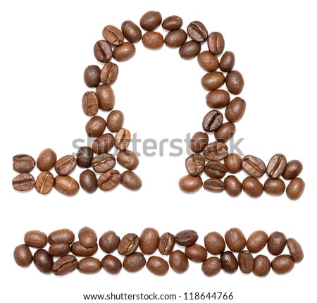 libra (zodiac sign) of coffee beans isolated on white - stock photo
