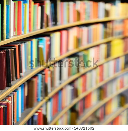 Library bookshelf - stock photo