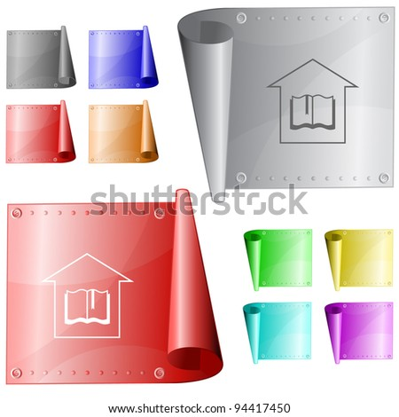 Library. Metal surface. Raster illustration. Vector version is in my portfolio. - stock photo