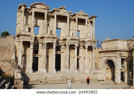 Library of Celsus, Ephesus, Turkey. Built for Roman Consul Tiberius Julius Celsus Polemaeanus by his son Gaius Julius Aquila - stock photo