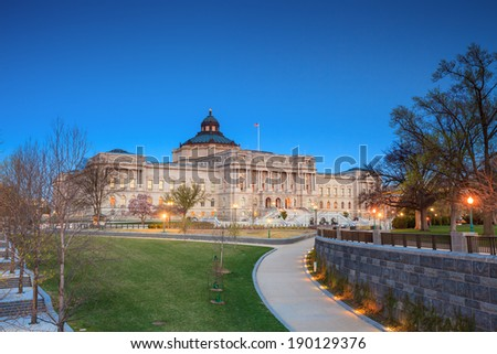 Library of Congress at night, Washington DC United States - stock photo