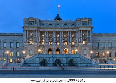 Library of Congress building at night  - Washington DC United States  - stock photo