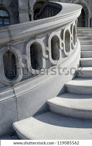 Library of Congress stairs detail. Washington DC. - stock photo